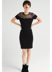 Springfield Short Sleeve Woven Mini Dress, Large, Black