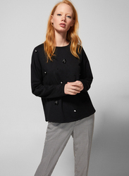 Springfield Long Sleeve Round Neck Sweatshirt for Women, Small, Black