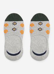 Springfield Fancy No Show Socks for Men, Dark Grey, Large