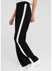 Springfield Side Stripe Cotton Fancy Pants for Women, 42 EU, Black
