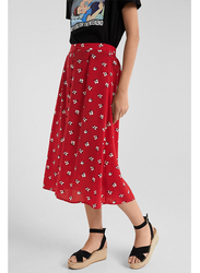 Springfield Floral Printed Midi Skirt,  Small, Wine Red