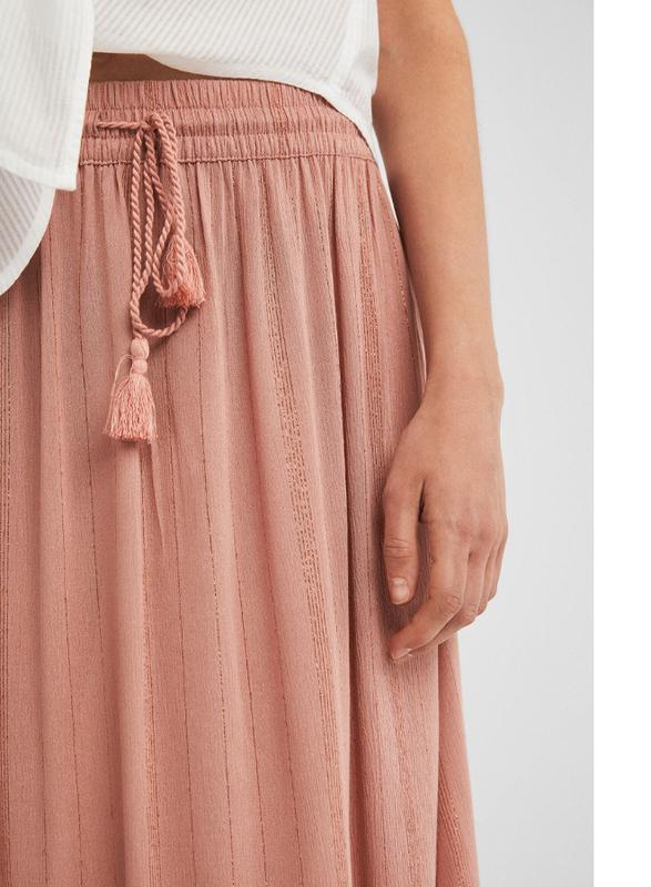 Springfield Stripe Details Midi Skirt, Medium, Salmon Pink