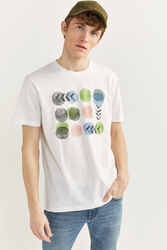 Springfield Short Sleeve Watercolor Printed T-Shirt for Men, Small, White