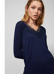 Springfield Long Sleeve Plain V-Neck T-Shirt for Women, Medium, Light Blue