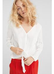 Springfield Plain Long Sleeve V-Neck Blouse for Women, 40 EU, Multicolor