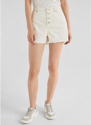 Springfield Denim Bermuda Shorts for Women, 42 EU, White
