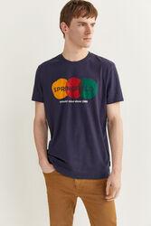 Springfield Short Sleeve Watercolor Logo T-Shirt for Men, Medium, Navy Blue