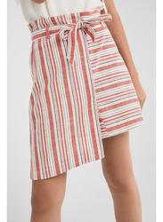 Springfield Striped Mini Skirt, Medium, Wine Red/White/Blue