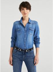 Springfield Long Sleeve Plain Denim Blouse for Women, 38 EU, Medium Blue
