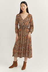 Springfield Long Sleeve Ikat Printed Midi Dress, 44 EU, Brown