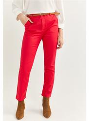 Springfield Cotton Fancy Pant for Women, 34 EU, Red