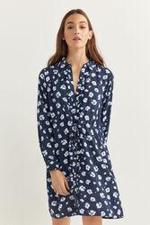 Springfield Long Sleeve Floral Printed Mini Shirt Dress, 38 EU, Navy Blue