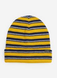 Springfield Stripe Pattern Beanie Cap for Men, Extra Small, Yellow/Black