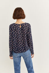 Springfield Long Sleeve Feather Printed T-Shirt for Women, Small, Blue