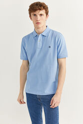 Springfield Short Sleeve Basic Polo Shirt for Men, Extra Small, Light Blue