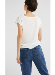 Springfield Short Sleeve Top T-Shirt for Women, Small, White