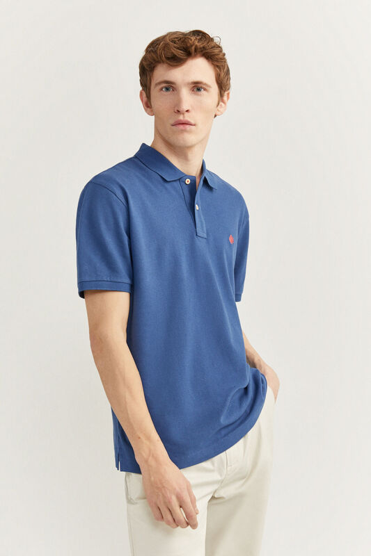 Springfield Short Sleeve Basic Polo Shirt for Men, Medium, Blue