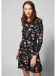 Springfield Ribbed Print Woven Mini Dress, Extra Small, Black