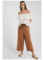 Springfield Plain Short Sleeve Off Shoulder Blouse for Women, 38 EU, Light