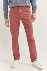 Springfield Slim Fit Chinos for Men, 38 EU, Light Red
