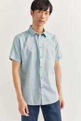 Springfield Short Sleeve Dobby Shirt for Men, Medium, Green