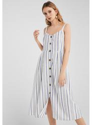 Springfield Vertical Stripe Knitted Midi Dress, 38 EU, Medium Blue/White
