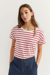 Springfield Short Sleeve Stripy T-Shirt for Women, Small, Orange