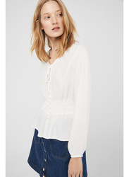 Springfield Long Sleeve Plain Blouse for Women, 40 EU, White