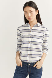 Springfield Long Sleeve Horizontal Striped Shirt for Women, 34 EU, Blue