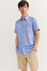 Springfield Short Sleeve Dobby Shirt for Men, Medium, Medium Blue