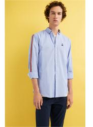 Springfield Stripes on Shoulder Long Sleeve Plain Shirt for Men, Medium, Medium Blue