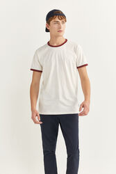 Springfield Short Sleeve Contrast Collar T-Shirt for Men, Large, Ivory