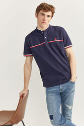 Springfield Short Sleeve Mandarin Collar Polo Shirt for Men, Large, Navy Blue