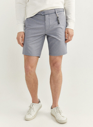 Springfield Two-Tone Structure Bermuda Shorts for Men, 48 EU, Light Blue