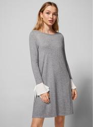 Springfield Boat Neck Woven Mini Dress, Extra Small, Grey