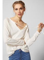Springfield Long Sleeve Plain T-Shirt for Women, Medium, Ivory