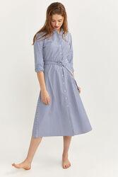 Springfield Long sleeve Tie Waist Midi Shirt Dress, 42 EU, Light Blue