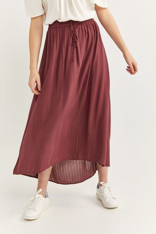 Springfield Long Striped Maxi Skirt, Small, Red