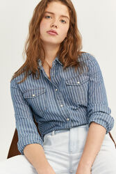 Springfield Long Sleeve Striped Denim Shirt for Women, 34 EU, Medium Blue