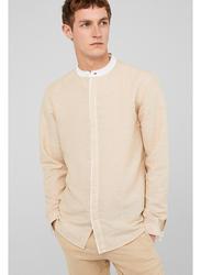 Springfield Long Sleeve Linen Shirt for Men, Small, Beige
