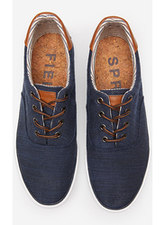 Springfield Rustic Fabric Lace-Up Sneakers, 42 EU, Navy Blue