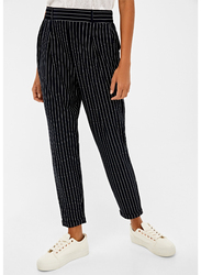Springfield Strips Pattern Cotton Fancy Pant for Women, 38 EU, Navy Blue