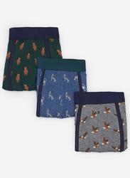 Springfield 3-Piece Printed Underwear Set for Men, Multicolor, Medium