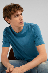 Springfield Basic Short Sleeve Round Neck T-Shirt for Men, Small, Turquoise