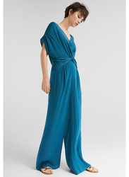 Springfield Short Sleeve Cotton Fancy Jumpsuit for Women, 38 EU, Green