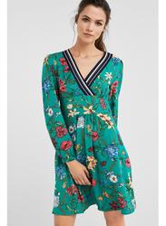 Springfield V-Neck Printed Knitted Mini Dress, 34 EU, Green