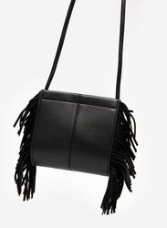 Springfield Fringe Details Crossbody Bag for Women, Black