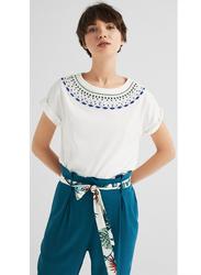 Springfield Fancy Short Sleeve T-Shirt for Women, Small, White