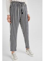 Springfield Cotton Fancy Pant for Women, Large, Blue/White