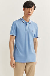 Springfield Short Sleeve Slim Fit Tipped Polo Shirt for Men, Small, Blue